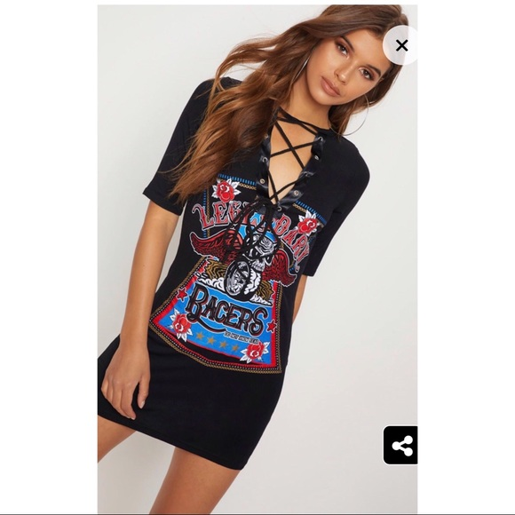 ac7e84b5282 Racers Black Lace Up T Shirt Dress from PLT